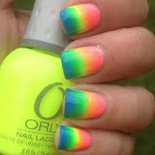 neon rainbow gradient nails polish me please