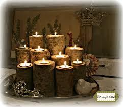 vintage cove fir log tea light candles