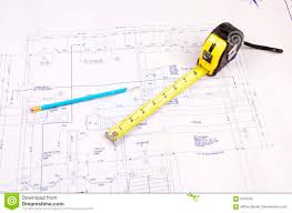 building plans and tape measure royalty free stock photo image