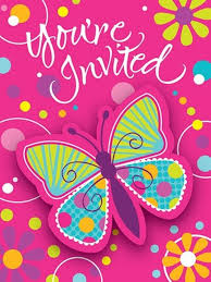 amazon com 8 count party invitations butterfly sparkle kitchen
