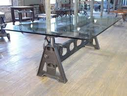 industrial glass dining table industrial metal crank glass top dining table glass dining room