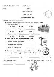 english worksheets grade 1 listening text