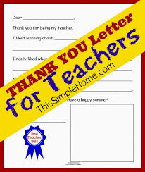 this simple home teacher thank you letter free printable