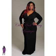 new plus size long dress with faux wrap long sleeves and gold