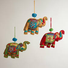 embroidered fabric indian elephant ornaments set of 3 world