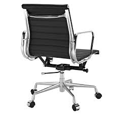 amazon com ribbed mid back office chair in black genuine leather