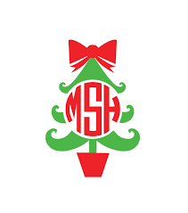 christmas tree monogram decal