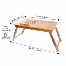 lifewit height u0026 angle adjustable lap desk bamboo wood lapdesk