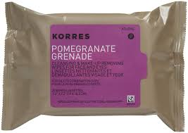 skin types 25 wipes korres pomegranate cleansing wipes make up removing wipes
