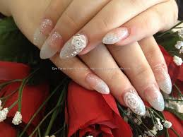 sharp almond shape acrylic nails with glitter 3d roses and