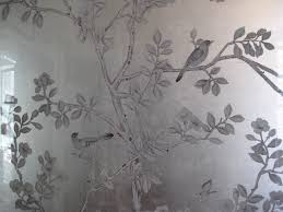 3 framed chinoiserie silver leaf wallpaper panels in upper