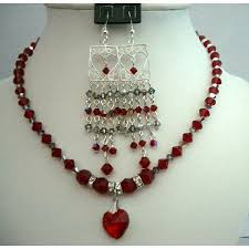 crystal necklace making images Earrings siam red crystals necklace heart pendant jpg
