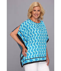 michael michael kors plus size disco scarf flutter top in blue lyst