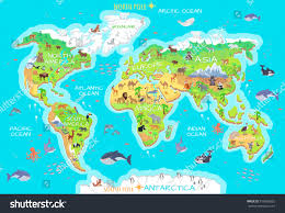 Geographical Map Of Usa World Geographical Map Flora Fauna Animals Stock Vector 516669232