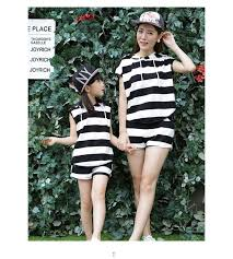 summer vaction parent child family dress blue and white stripes