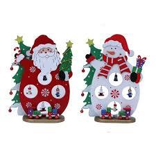wooden santa claus snowman desktop craft table