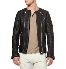 padded leather motorcycle jacket balmain zipped padded leather biker jacket in brown for men lyst