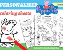 peppa pig coloring etsy