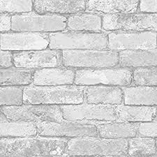 white and silver rustic brick effect wallpaper windsor