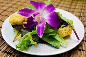 edible flower garnish orchid blossom salad dinner in zaofu the legend of korra