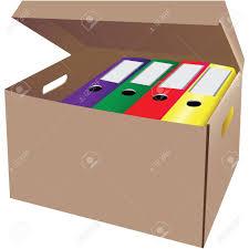 boite bureau boîte en avec des dossiers de bureau vector illustration