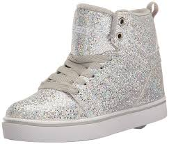 Meme Sneakers - heelys uptown girls high trainers silver disco glitter shoes heelys