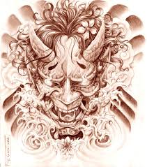 hannya mask tattoo sketch real photo pictures images and