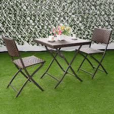 costway 3 pc outdoor folding table chair furniture set rattan