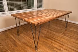 butcher block dining table with hairpin iron legs decofurnish
