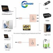 amazon com towabo usb 3 1 type c to hdmi adapter 4k plus usb 3 0