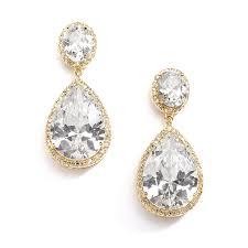 drop bridal earrings best selling gold cz pear shaped drop bridal earrings mariell
