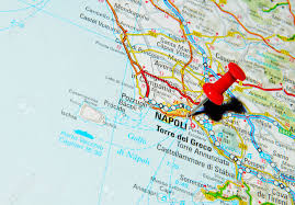 Napoli Map by London Uk 13 June 2012 Napoli Italy Marked With Red Pushpin