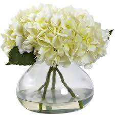 large blooming hydrangea w vase nearly natural