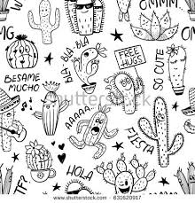 sketch seamless pattern cartoon cactus succulent stock vector
