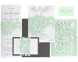 mint wedding invitations leaf lace wedding invitations mint green slate gray