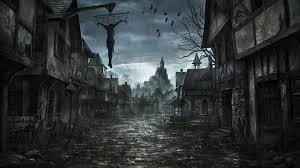 dark village wallpaper rainy village street fantasy wallpaper 125270 resolution