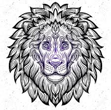 detailed lion in aztec filigree line art style tattoo coloring