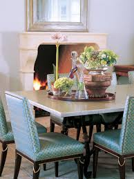 Blue And White Dining Chairs by White Chairs With A Small Sky Blue Pattern And Nailhead Trim
