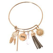 gold tone zen bangle charm bracelet s us