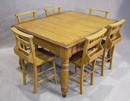 VICTORIAN PINE KITCHEN TABLE AND SIX CHAPEL CHAIRS - Pine kitchen tables and chairs