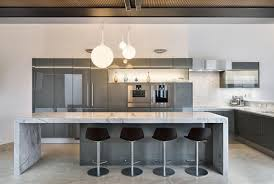 German Designer Kitchens by Gunmetal Gray Along With Carrera Marble Make This Modern Kitchen