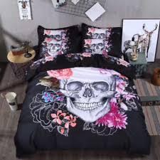 Black Duvet Cover King Size Skull Bedding Ebay