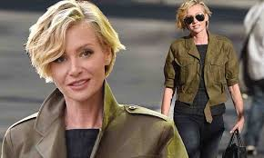 portias hair line portia de rossi cuts a stylish figure in skinny jeans and military