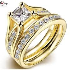 rings design for men eometr design yellow plated wedding ring sets