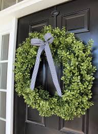 Decorative Wreaths For Home by Decorating Preserved Boxwood Wreath In O Design With Stripped