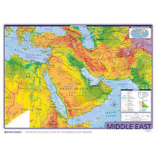 mid east map middle east physical political wall map rand mcnally store