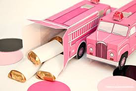 piggy bank party favors vintage truck favor box diy printable pdf pink firetruck