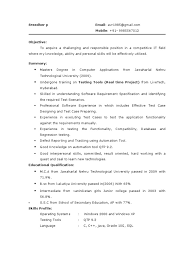 Software Testing Fresher Resume Sample by Fresher Resume For Software Testing Free Resume Example And
