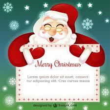 christmas card template with santa claus cartoon vector free