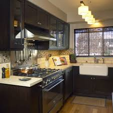 Small Space Kitchen Table Kitchen Brown Kitchen Cabinet White Hanging Lamp Brown Kitchen